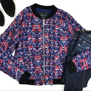 Sanctuary blue jacket Floral Full Zip M Bomber